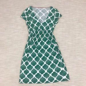 Boden Green Print Short Sleeve Dress